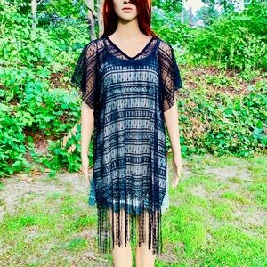 Boutique Brand Swim - NWOT Black Lace Fringed Bohemian Kimono Top